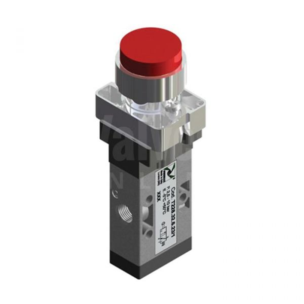 Series T228 Raised Push Button Pneumatic Valve 3/2 & 5/2 - 1/8
